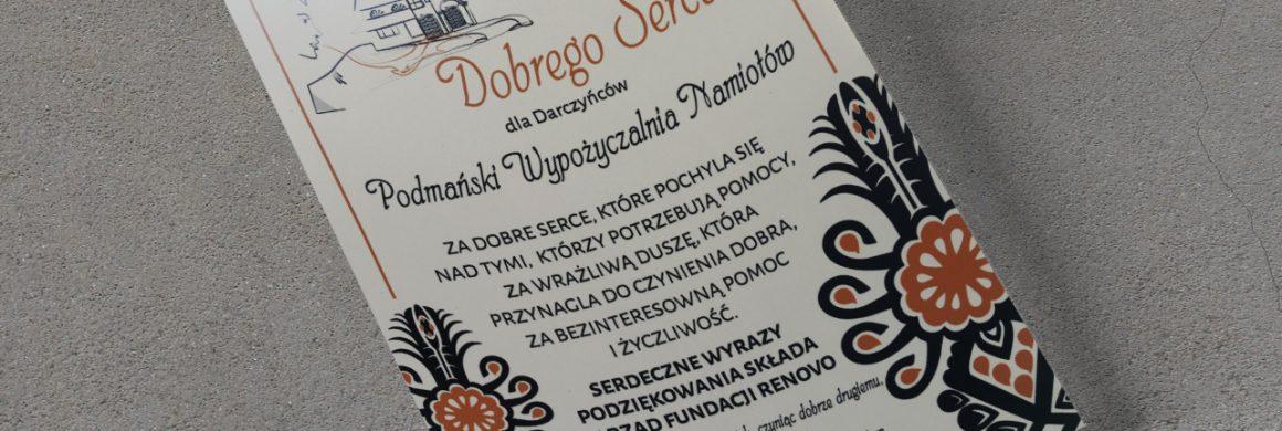 Certyfikat Dobrego Serca - podmanskinamioty.pl